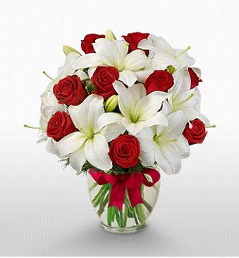 Gaziantep çiçek servisi , çiçekçi adresleri  1 dal kazablanka 11 adet kırmızı gül vazosu