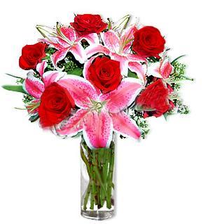 Gaziantep cicekciler , cicek siparisi  1 dal cazablanca ve 6 kırmızı gül çiçeği