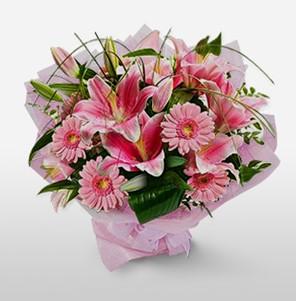 1 dal kazablanka ve kır çiçek görsel buketi  Gaziantep güvenli kaliteli hızlı çiçek