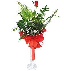 Gaziantep çiçek satışı  Cam vazoda masum tek gül