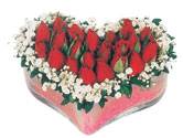 Gaziantep 14 şubat sevgililer günü çiçek  mika kalpte kirmizi güller 9