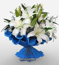 4 dal kazablanka çiçeğinden buket  Gaziantep çiçek gönderme sitemiz güvenlidir