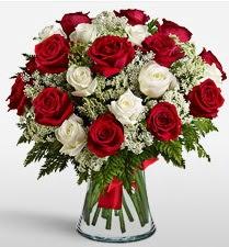 Vazoda 12 kırmızı 12 beyaz gül tanzimi  Gaziantep çiçek gönderme
