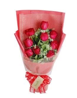 9 adet kırmızı gülden görsel buket  Gaziantep çiçek online çiçek siparişi