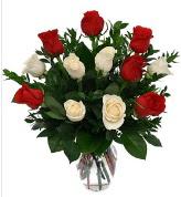 Vazo içerisinde 6 kırmızı 6 beyaz gül  Gaziantep çiçek servisi , çiçekçi adresleri