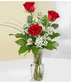 Vazo içerisinde 3 adet kırmızı gül  Gaziantep anneler günü çiçek yolla
