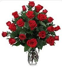 Gaziantep kaliteli taze ve ucuz çiçekler  24 adet kırmızı gülden vazo tanzimi