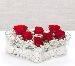 kalp içerisinde 7 adet kırmızı gül  Gaziantep çiçek yolla , çiçek gönder , çiçekçi
