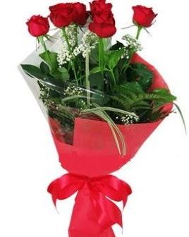5 adet kırmızı gülden buket  Gaziantep çiçek siparişi sitesi