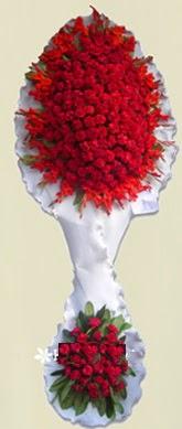 Çift katlı kıpkırmızı düğün açılış çiçeği  Gaziantep çiçek satışı