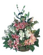 Gaziantep İnternetten çiçek siparişi  Pembe gerbera ve lilyum sepeti
