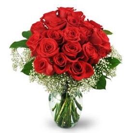 25 adet kırmızı gül cam vazoda  Gaziantep hediye sevgilime hediye çiçek
