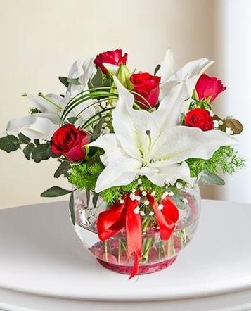Fanus Vazoda 2 Lilyum ve 5 Gül Dansı  Gaziantep uluslararası çiçek gönderme
