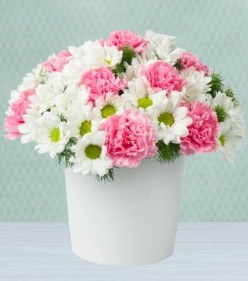 Seramik vazoda papatya ve kır çiçekleri  Gaziantep kaliteli taze ve ucuz çiçekler