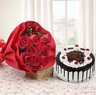 12 adet kırmızı gül 4 kişilik yaş pasta  Gaziantep hediye sevgilime hediye çiçek