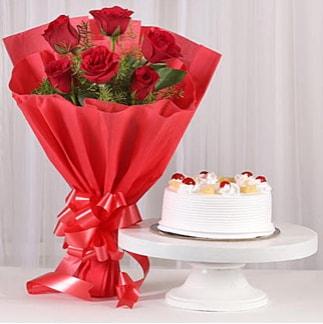 6 Kırmızı gül ve 4 kişilik yaş pasta  Gaziantep hediye sevgilime hediye çiçek