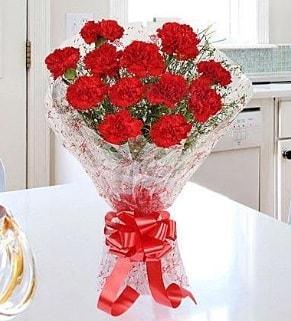 12 adet kırmızı karanfil buketi  Gaziantep online çiçek gönderme sipariş