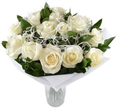 15 beyaz gül buketi sade aşk  Gaziantep anneler günü çiçek yolla