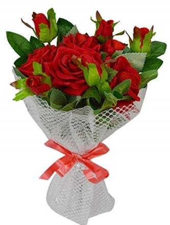 9 adet kırmızı gülden sade şık buket  Gaziantep 14 şubat sevgililer günü çiçek