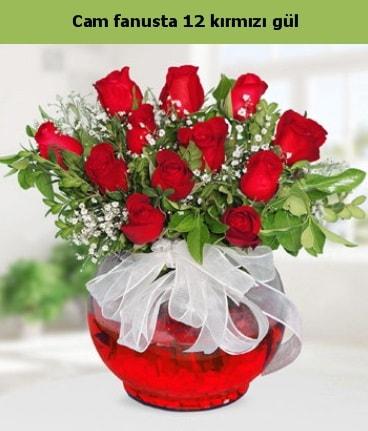 Cam içerisinde 12 adet kırmızı gül  Gaziantep güvenli kaliteli hızlı çiçek