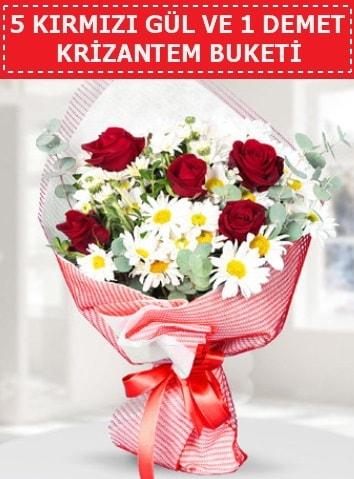 5 adet kırmızı gül ve krizantem buketi  Gaziantep anneler günü çiçek yolla