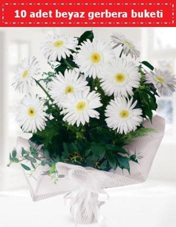 10 Adet beyaz gerbera buketi  Gaziantep hediye sevgilime hediye çiçek