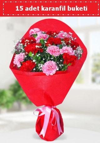 15 adet karanfilden hazırlanmış buket  Gaziantep çiçek yolla