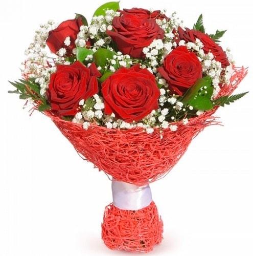 7 adet kırmızı gül buketi  Gaziantep yurtiçi ve yurtdışı çiçek siparişi