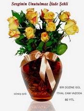 Gaziantep güvenli kaliteli hızlı çiçek  mika yada Cam vazoda 12 adet sari gül